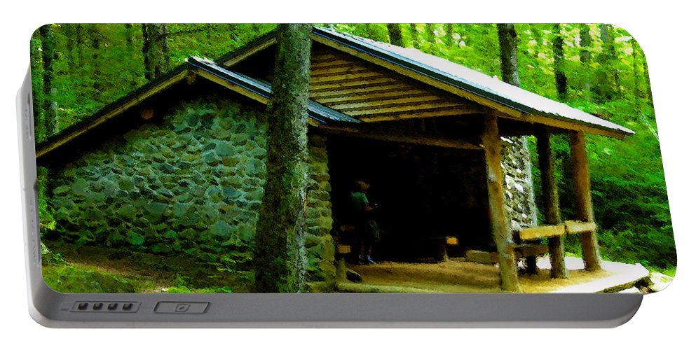 Appalachian Trail Shelter Portable Battery Charger featuring the painting The Shelter by David Lee Thompson