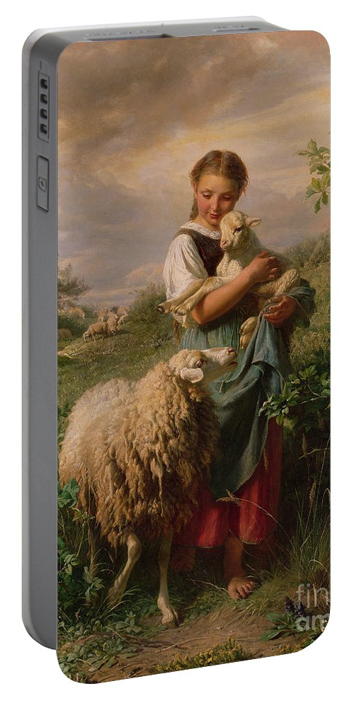 Shepherdess Portable Battery Charger featuring the painting The Shepherdess by Johann Baptist Hofner