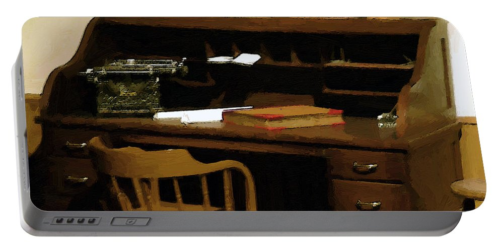 Antiques Portable Battery Charger featuring the digital art The Sheriff Is Out by RC DeWinter