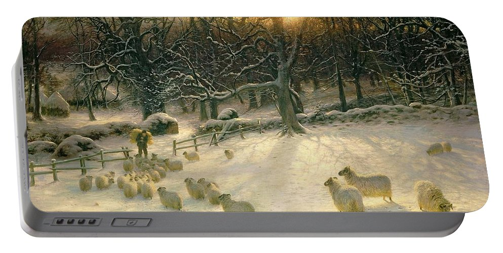 Winter Portable Battery Charger featuring the painting The Shortening Winters Day is Near a Close by Joseph Farquharson