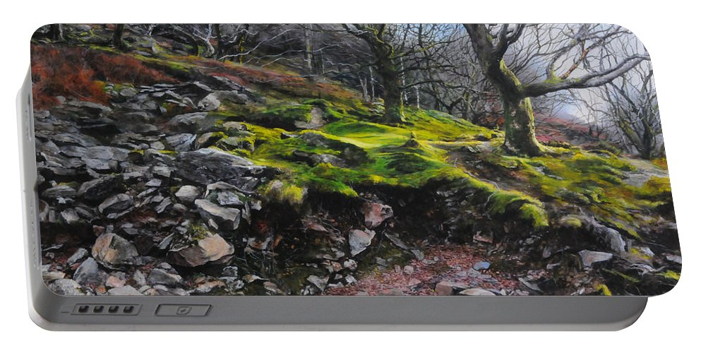Landscape Portable Battery Charger featuring the painting The Side Of The Valley by Harry Robertson