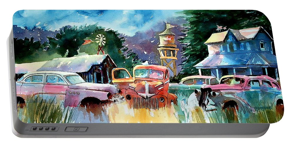 Landscape Watertower Portable Battery Charger featuring the painting The Sign Of The Fish On The Watertower by Ron Morrison