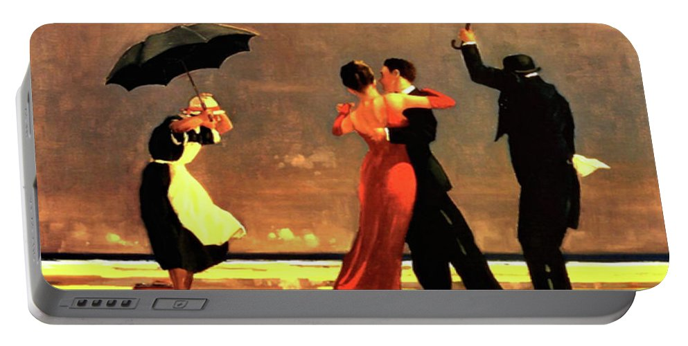 Jack Vettriano Portable Battery Charger featuring the painting The Singing Butler by Jack Vettriano