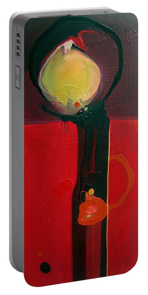 Abstract Portable Battery Charger featuring the painting The Skinny by Marlene Burns