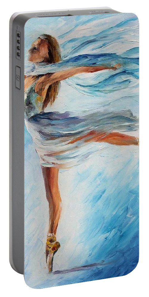 Afremov Portable Battery Charger featuring the painting The Sky Dance by Leonid Afremov