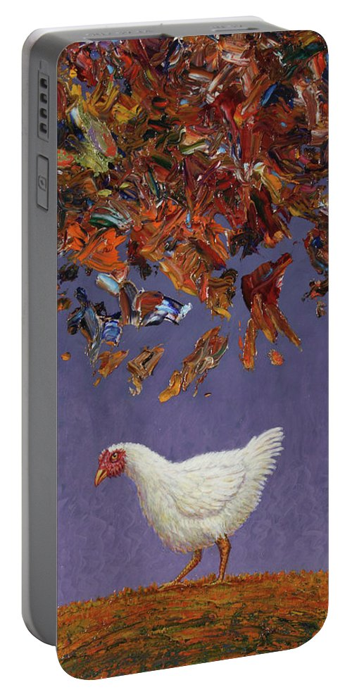 Chicken Little Portable Battery Charger featuring the painting The Sky Is Falling by James W Johnson