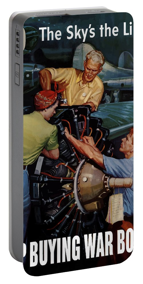 War Effort Portable Battery Charger featuring the painting The Sky's The Limit - Ww2 by War Is Hell Store