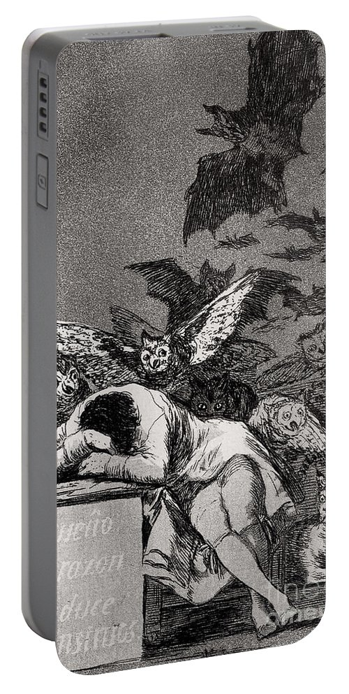 Goya Portable Battery Charger featuring the drawing The Sleep of Reason Produces Monsters by Goya