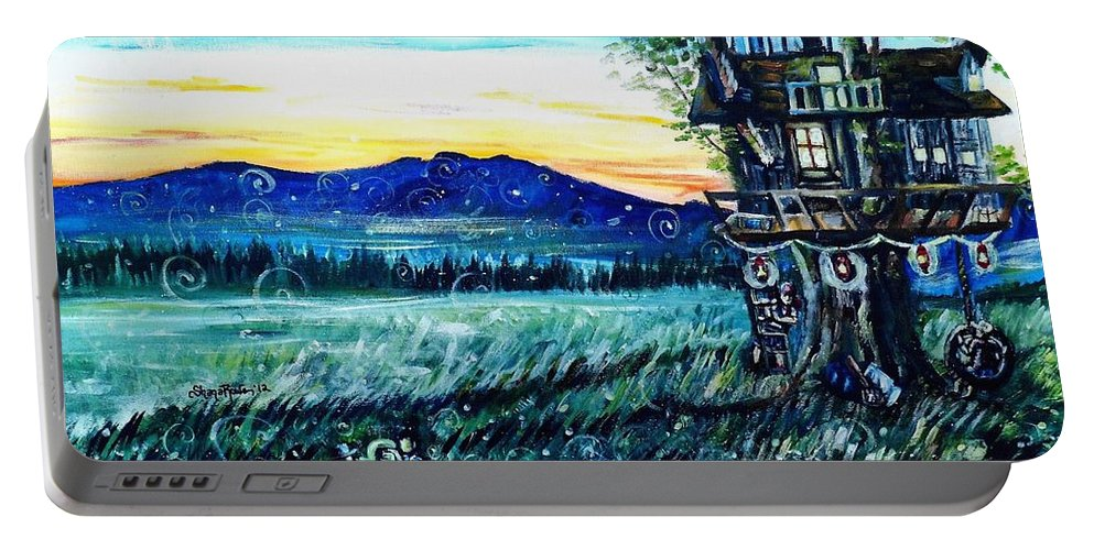 Treehouse Portable Battery Charger featuring the painting The Sleepover by Shana Rowe Jackson