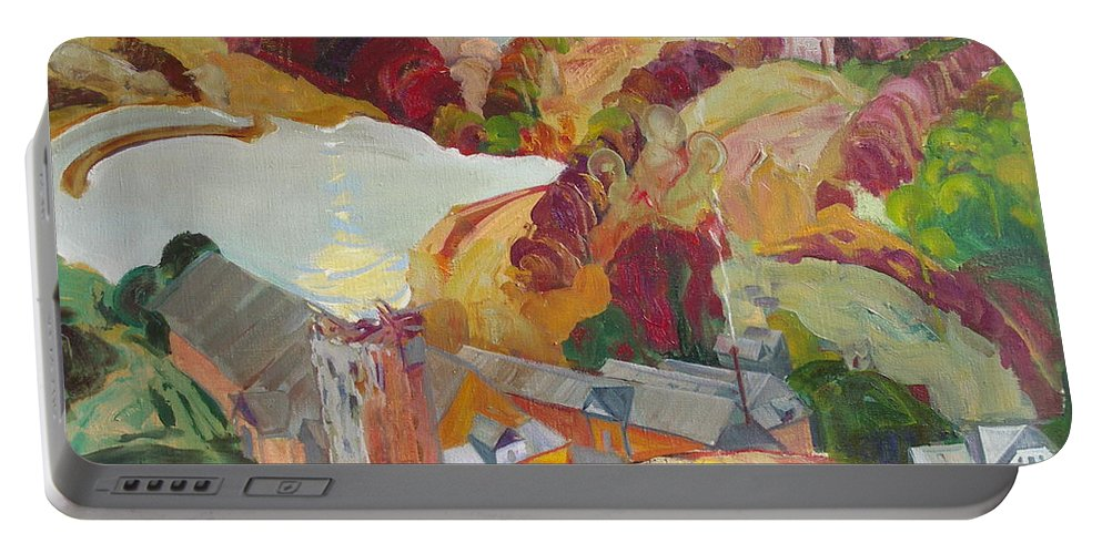 Oil Portable Battery Charger featuring the painting The Slovechansk Edge by Sergey Ignatenko