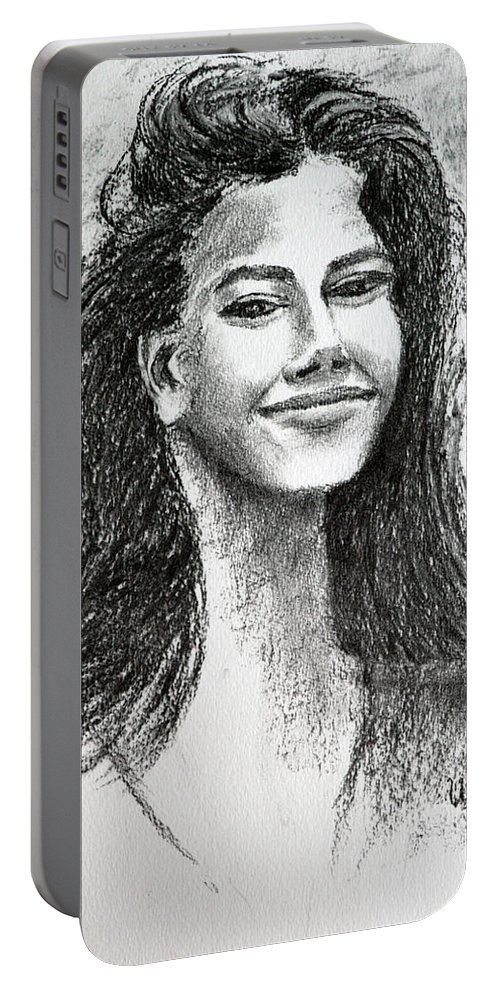 The Smile Portable Battery Charger featuring the drawing The Smile by Uma Krishnamoorthy