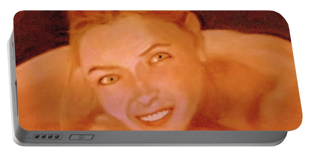 Head And Shoulders Portable Battery Charger featuring the painting The Smiling Girl by Peter Gartner