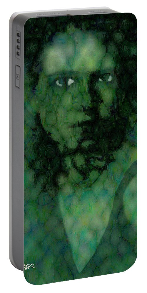 Bizarre Portable Battery Charger featuring the digital art The Snake Lady by Seth Weaver