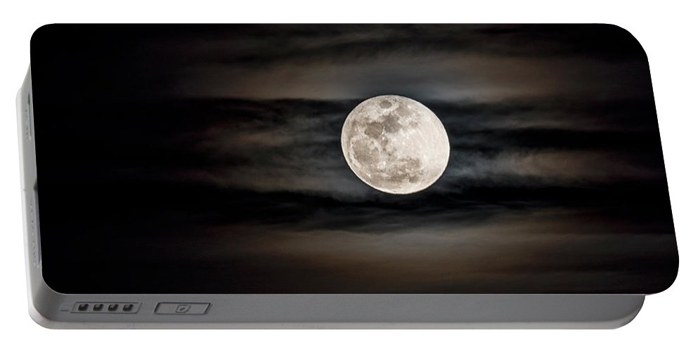 Snow Moon Portable Battery Charger featuring the photograph The Snow Moon Is Arising by Saija Lehtonen