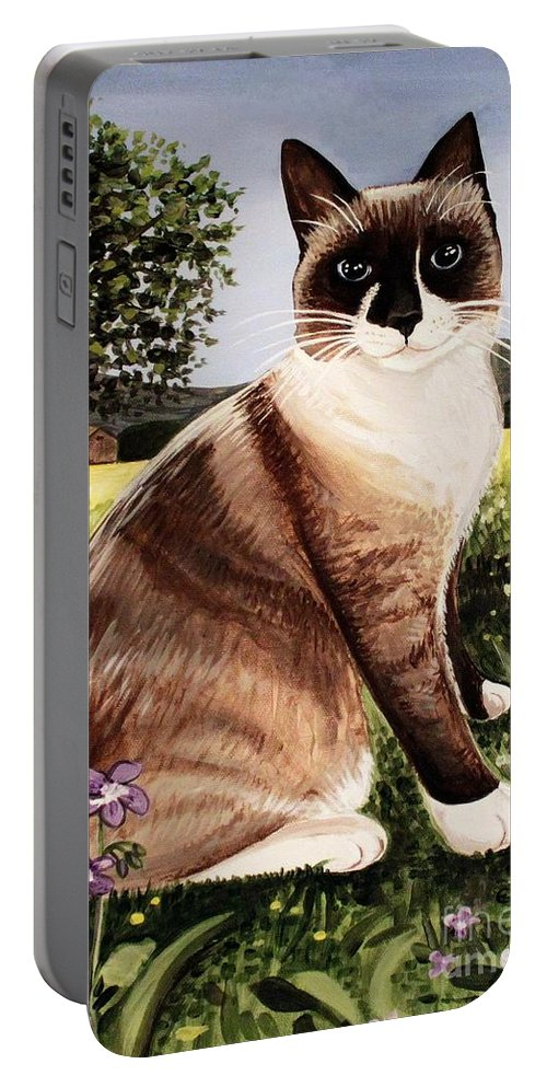 Pet Portrait Portable Battery Charger featuring the painting The Snowshoe Cat by Elizabeth Robinette Tyndall
