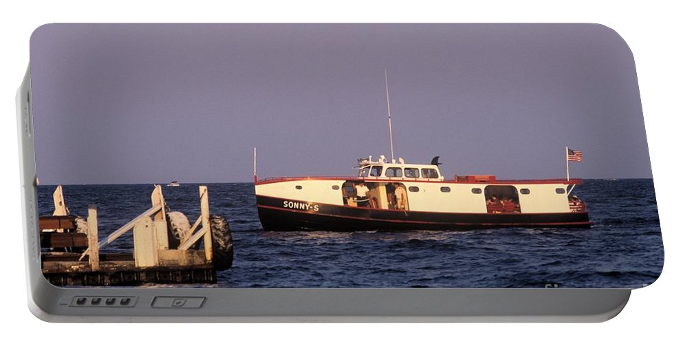 Ferry Portable Battery Charger featuring the photograph The Sonny S Ferry Docking At Middlebass Island by John Harmon