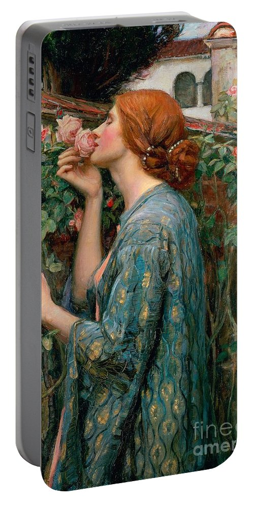The Portable Battery Charger featuring the painting The Soul of the Rose by John William Waterhouse