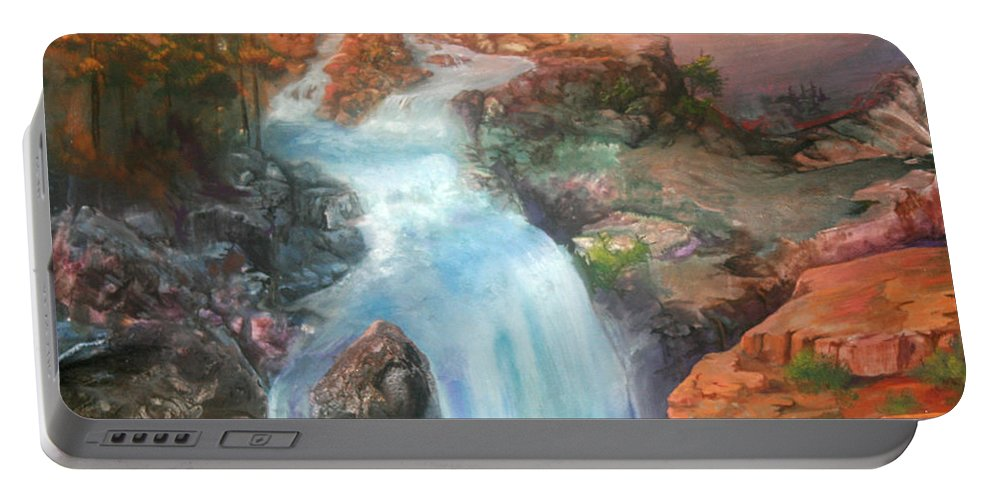 Waterfall Portable Battery Charger featuring the painting The Source by Sherry Shipley
