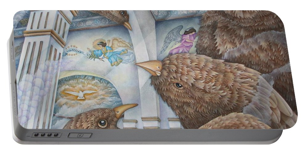 Birds Portable Battery Charger featuring the painting The Sparrows Of San Elizario by Jeniffer Stapher-Thomas