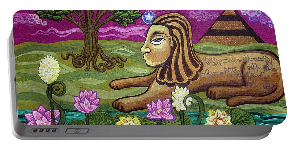 Egypt Portable Battery Charger featuring the painting The Sphinx by Genevieve Esson