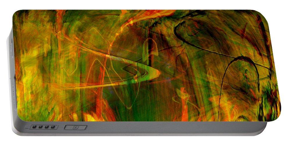 Abstract Digital Abstract Digital Painting Digital Art Design Dark Art Vibrant Art Yellow Portable Battery Charger featuring the digital art The Spirit Glows by Linda Sannuti