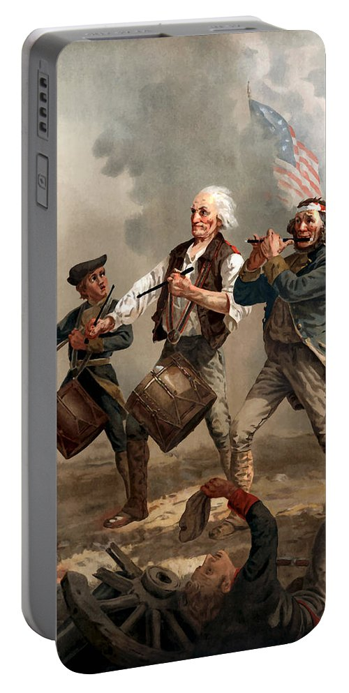 Yankee Doodle Portable Battery Charger featuring the painting The Spirit of '76 by War Is Hell Store