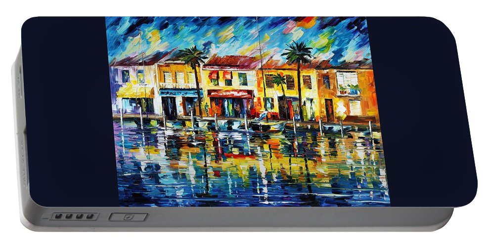Afremov Portable Battery Charger featuring the painting The Spirit Of Miami by Leonid Afremov