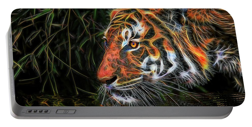 Tiger Portable Battery Charger featuring the mixed media The Spirit Of The Tiger by Michael Durst