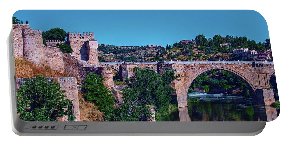 George Westermak Portable Battery Charger featuring the photograph The St. Martin Bridge Over The Tagus River In Toledo by George Westermak