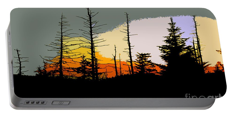 Forest Portable Battery Charger featuring the painting The Stained Glass Forest by David Lee Thompson