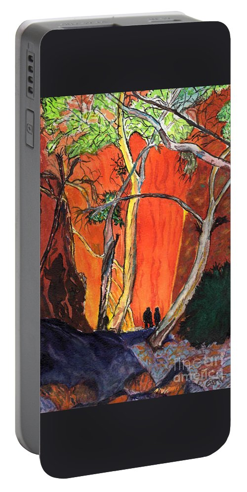 Chasm Portable Battery Charger featuring the painting The Standley Chasm by Eunice Warfel