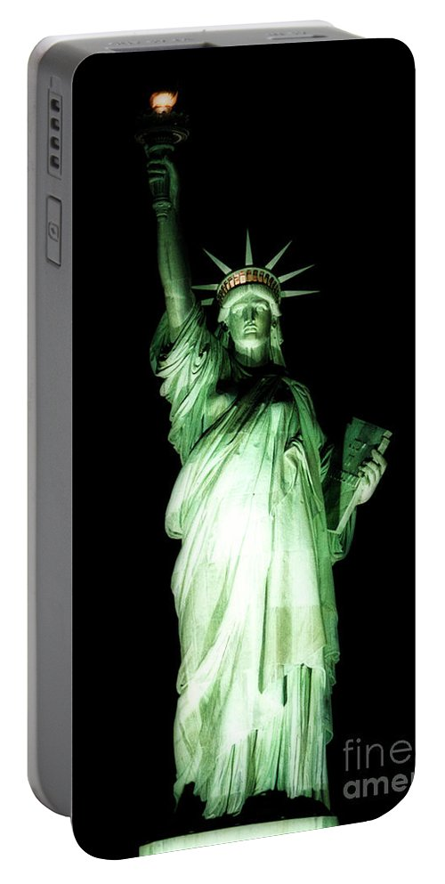 American Flag Portable Battery Charger featuring the photograph The Statue Of Liberty #2 by Julian Starks