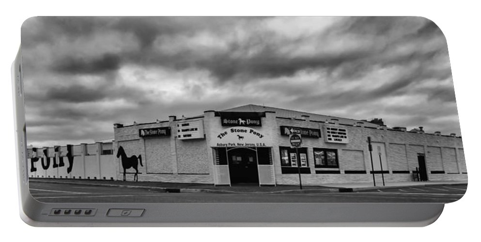 Terry D Photography Portable Battery Charger featuring the photograph The Stone Pony Asbury Park New Jersey Black And White by Terry DeLuco