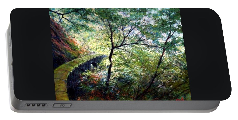 Pastel Portable Battery Charger featuring the painting The Stone Wall by Jim Gola
