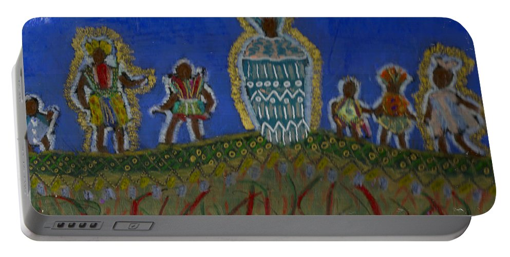 Spiritual Portable Battery Charger featuring the painting The Storyteller by Angela L Walker