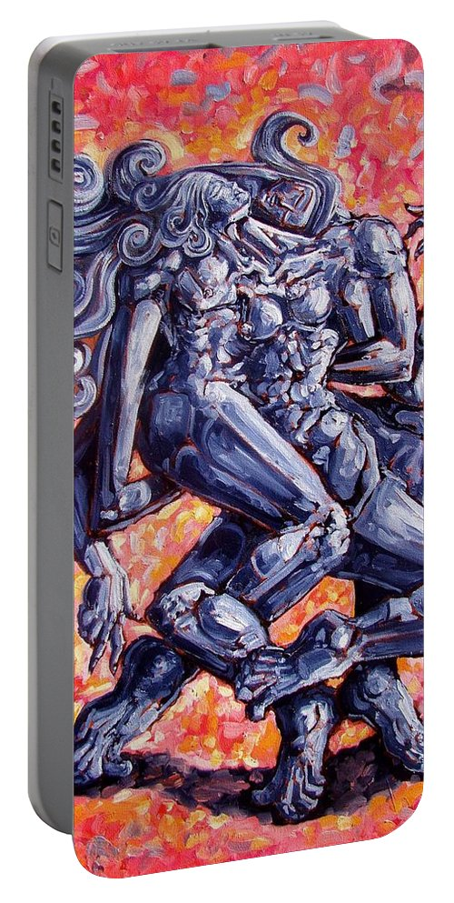 Surrealism Portable Battery Charger featuring the painting The Strangers by Darwin Leon