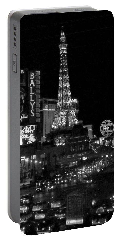 Las Vegas Strip Portable Battery Charger featuring the photograph The Strip By Night B-w by Anita Burgermeister