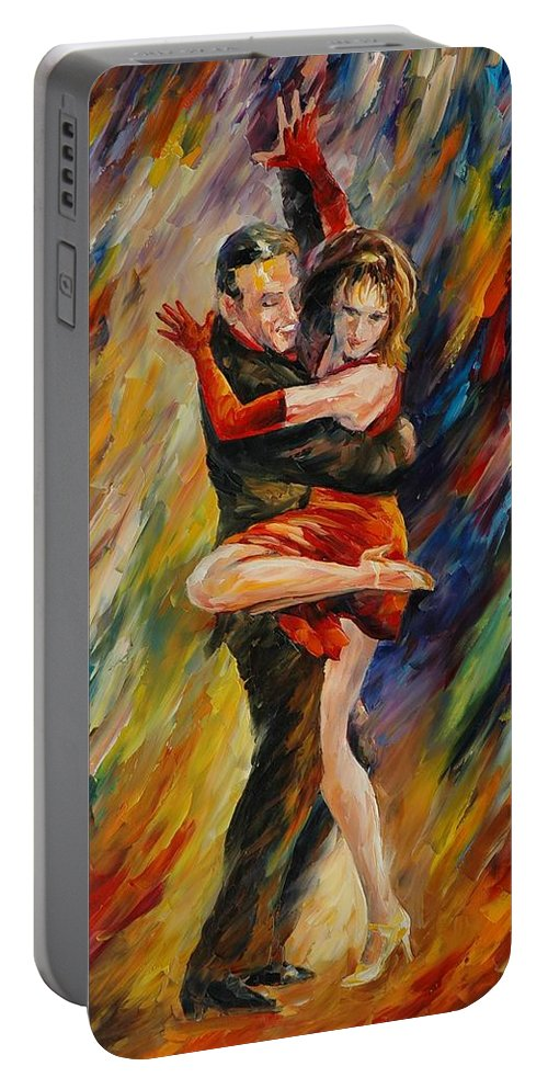 Dance Portable Battery Charger featuring the painting The Sublime Tango by Leonid Afremov