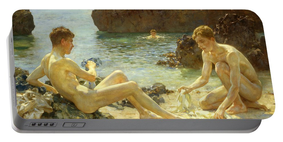 Nude Portable Battery Charger featuring the painting The Sun Bathers by Henry Scott Tuke