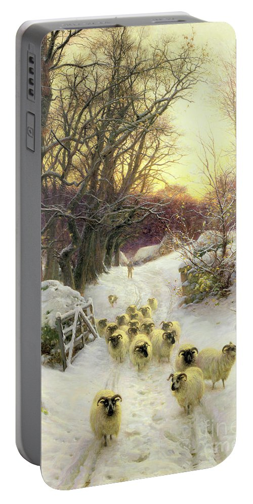 Sunset Portable Battery Charger featuring the painting The Sun Had Closed The Winter's Day by Joseph Farquharson