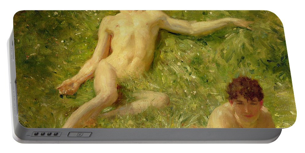 Nubile; Young; Boy; Abandon; Nude; Carefree; Homoerotic; Adolescent; Asleep; Sunbathing; Holiday; Summer; Newlyn School Portable Battery Charger featuring the painting The Sunbathers by Henry Scott Tuke