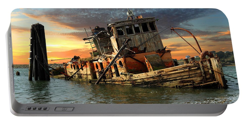 Boat Portable Battery Charger featuring the photograph The Sunset Years Of The Mary D. Hume by James Eddy