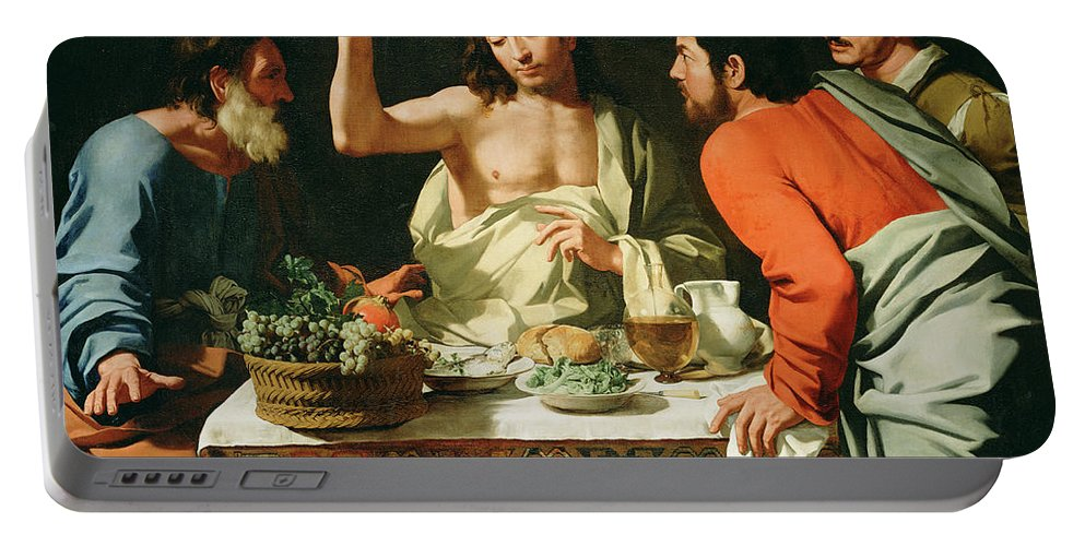 Bartolomeo Cavarozzi (italian Portable Battery Charger featuring the painting The Supper At Emmaus by Bartolomeo Cavarozzi