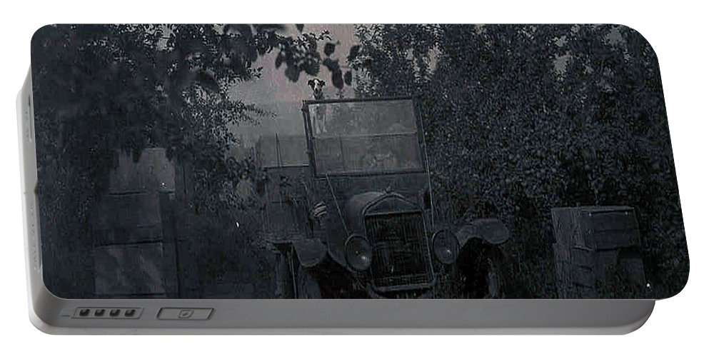 Old Photo Black And White Classic Saskatchewan Pioneers History Old Jeep Truck Portable Battery Charger featuring the photograph The Supply Truck by Andrea Lawrence