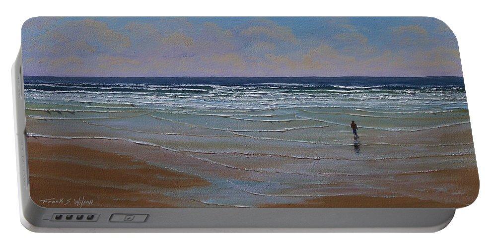 Seascape Portable Battery Charger featuring the painting The Surf Walker by Frank Wilson