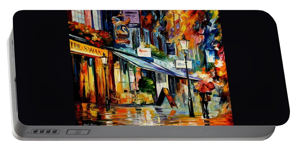 Afremov Portable Battery Charger featuring the painting The Swan - London by Leonid Afremov