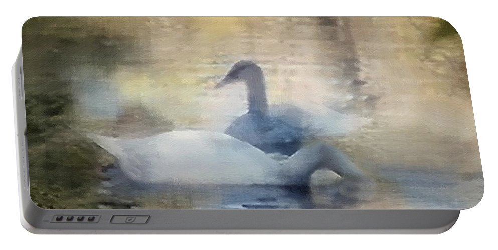 Pond Portable Battery Charger featuring the painting The Swans by RC DeWinter
