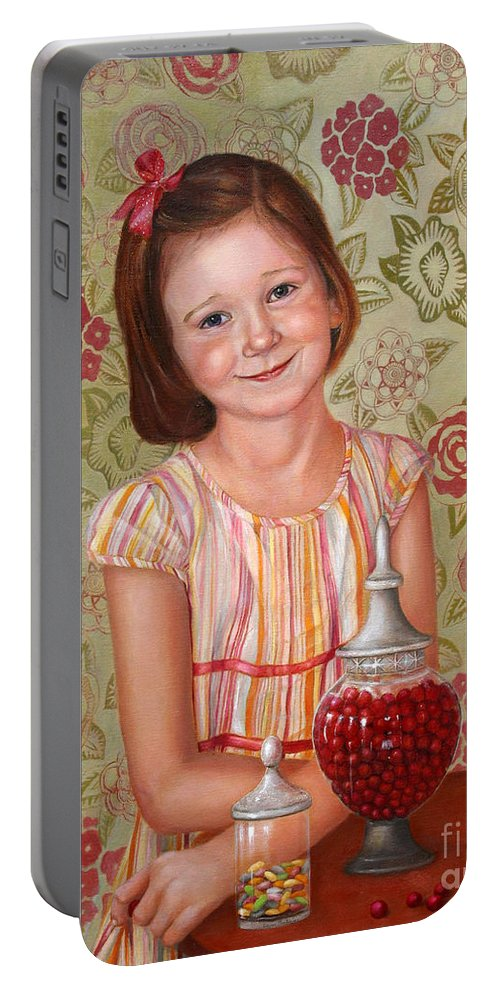 Children Portrait Portable Battery Charger featuring the painting The Sweet Sneak by Portraits By NC