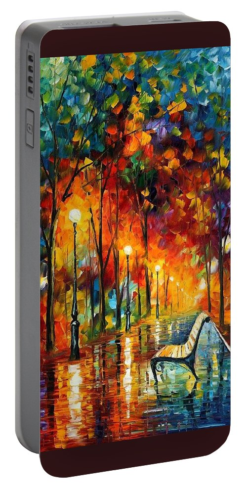 Afremov Portable Battery Charger featuring the painting The Symphony Of Light by Leonid Afremov