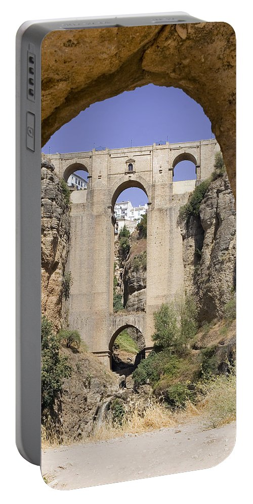 Ronda Portable Battery Charger featuring the photograph The Tajo De Ronda And Puente Nuevo Bridge Andalucia Spain Europe by Mal Bray